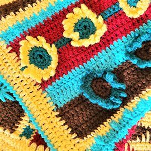 Hand made crochet throw, afghan blanket